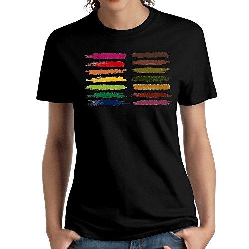 (Women's Cotton Short-Sleeved T-Shirt Design Painted Logo Black XXL)