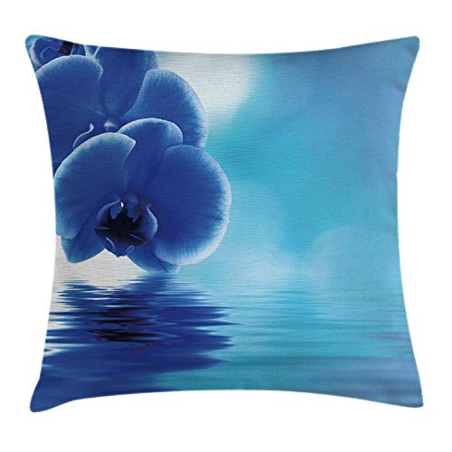 Ambesonne Flower Throw Pillow Cushion Cover, Orchid Floral Design with Reflection to a River Water Image Photo, Decorative Square Accent Pillow Case, 18