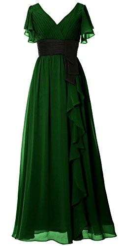 Women Dress Mother Party Sleeve Long Short Dunkelgrun Bridesmaid V Gown Neck Formal MACloth dxW08wOgqd