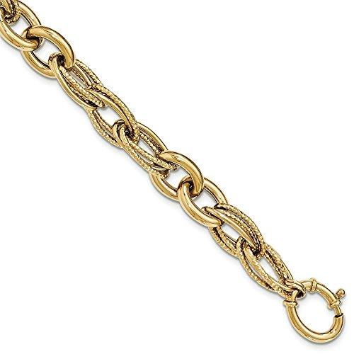 """14 Carats Or blanc texturé et poli Bracelet lien-Fantaisie-JewelryWeb 8 """""""