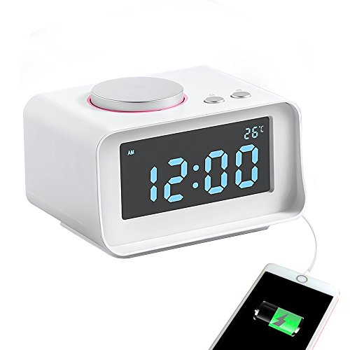 TOP-MAX Alarm Clock Radio,Loud Music Speaker Alarm Clock for Heavy Sleepers, Digital Dual Alarm Clock with 2 USB Charging Port,FM Radio,Snooze Function,Thermometer and 5 Dimmer LCD Display(White)