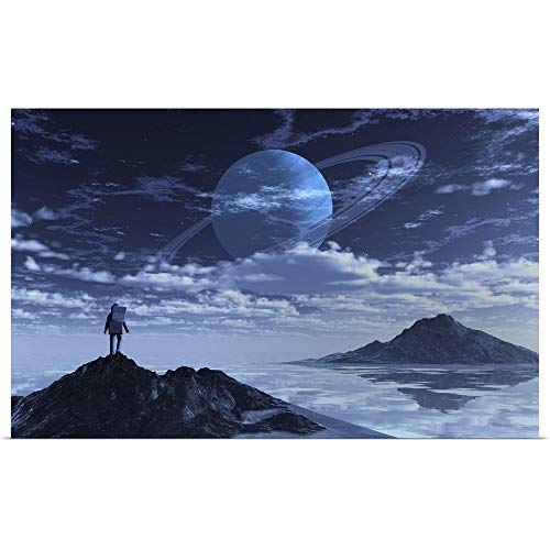 GREATBIGCANVAS Poster Print Entitled an Astronaut Exploring an Alien Moon That orbits a Ringed Planet. by 30