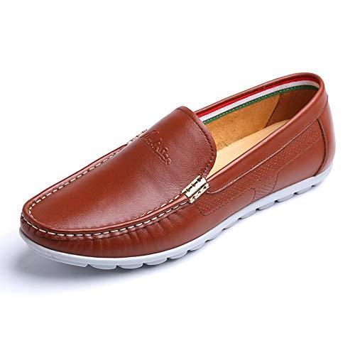 de Marrón 5 5 hombres Color hombre casuales On de 9 Slip azul cómodo 8 Talla tamaño 9 UK mocasines punta de para vestido hombres US holgados UK Zapatos Color Marrón para 8 para cuero US dqf44