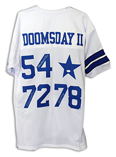 Doomsday II' Dallas Cowboys White Throwback Jersey Autographed by Randy White, Ed 'Too Tall' Jones & John Dutton. -APE (Jones Autographed White Throwback Jersey)