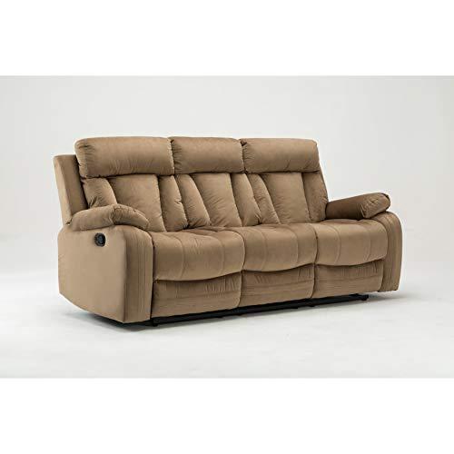 Blackjack Furniture The Elton Collection Modern Reclining Living Room Sofa, Beige