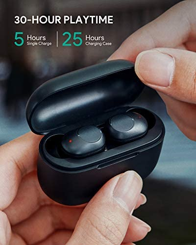 AUKEY True Wireless Earbuds, Bluetooth 5 Headphones with Wireless Charging Case, in-Ear Detection, 30H Playtime, IPX5 Water Resistance, Type-C Low Latency Stereo Earphones for iPhones and Android
