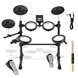 Donner DED-100 Electric Drum Kit with Drum Throne, Sticks, Headphone And Audio Cable, More Stable Iron Metal Support…