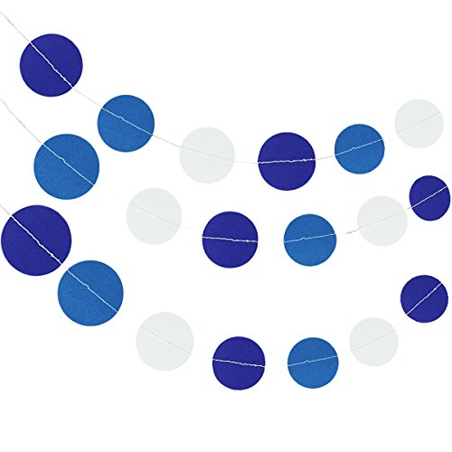 allydrew Circle Dot Paper Garland Hanging Décor, 26Ft, Set of 2, for Weddings, Parties, Baby Showers - Sky Blue, White, Navy - Navy Blue Circle