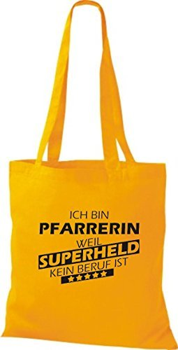 Shirtstown Bolso de tela Estoy Reverendo, weil Superheld sin Trabajo ist amarillo dorado