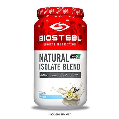 BioSteel Natural Isolate Blend Protein Powder, Grass Fed with Milk Protein, Whey Protein, Egg Protein, Vanilla, 725 Gram