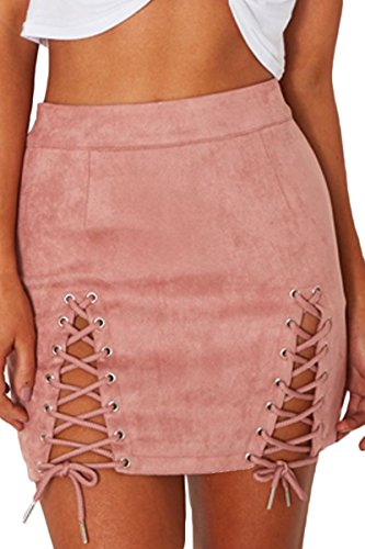 (Meyeeka Ladies Lace Up High Waist Bodycon Stretchy Faux Suede A-Line Mini Skirt Pink)