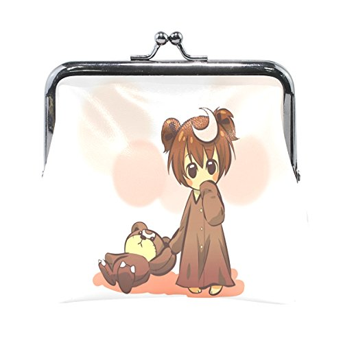 Leather Coin Purse Clutch Pouch Handbag with Cartoon Girl and Cute Toy Bear Pattern Wallet for Women Girls (Lambskin Soft Plush Toy)