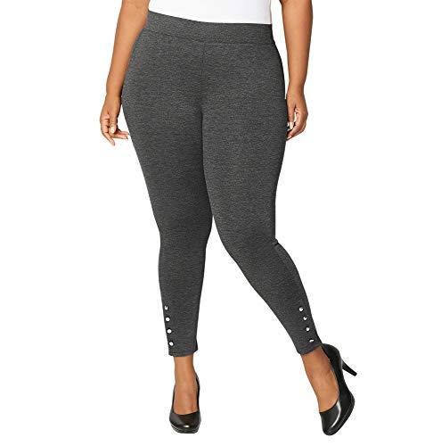 Avenue Women's Button Hem Ponte Legging, 22/24 Medium Grey