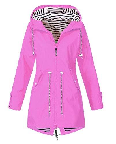 Coolred-Women Premium Bugaboo Jacket Hood Plus Size Raincoat Rose Red ()