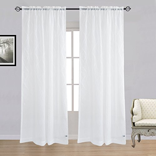 Silk Sheer Curtains (Cheery Home Natural Wave Sheer Curtains Voile Panels Drapes Rod Pocket for Living Room,Width 52 Inch By 96 Inch Length,White)