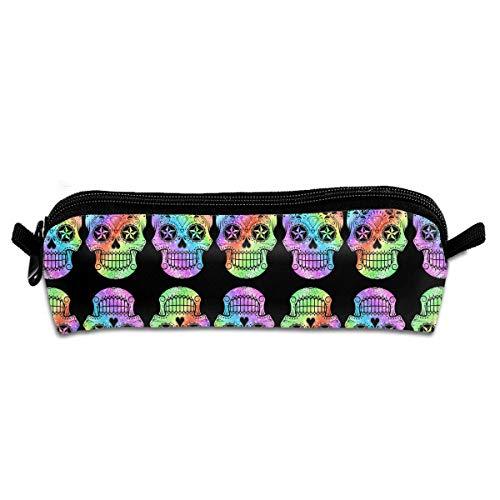 Price comparison product image Rainbow Pride Colors Sugar Skull Pen Pencil Case Zipper Pouch Storage Bag