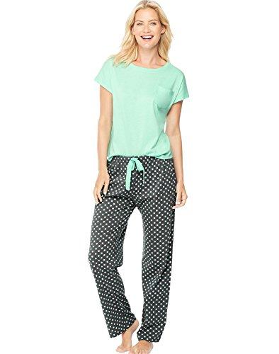 Hanes Womens Ultimate Dolman Sleeve Tee/Pants Sleep Set, 28995, L