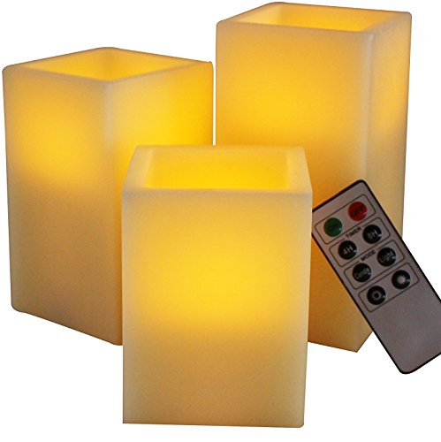 BEST SQUARE FLAMELESS LED CANDLES WITH TIMER REMOTE CONTROL, Set of 3 Unscented WAX Pillar Flickering Battery Operated Electric Tall Candle Home Decor, Weddings, Parties and Awesome Decorative Gifts