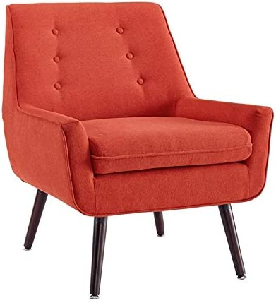 Linon Trelis Wood Upholstered Accent Chair in Orange