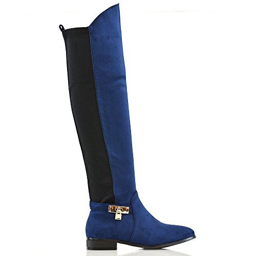 Casual High Flat ESSEX Low Over Zip Ladies Faux Boots Calf Knee Leg Heel The GLAM Stretch Navy Suede Womens qxnwYgw6X