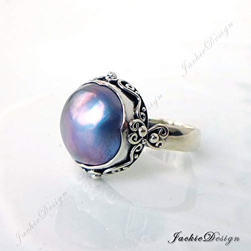 Purple Grey Mabe Pearl Ring Size 8 Bali Sterling Silver JD220