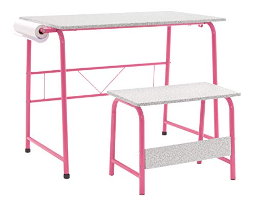 Studio Designs Project Center, Kids Craft Table with Bench in Pink/Spatter Gray 55125 (Roll Levelers Off)