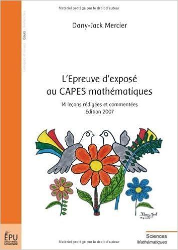 Allemand livre audio télécharger gratuitement L'Epreuve d'exposé au CAPES mathématiques : 14 leçons rédigées et commentées de Dany-Jack Mercier (20 juin 2008) Broché PDF ePub B010IQOU74