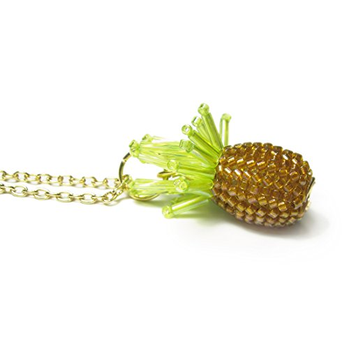 Heart in Hawaii Tiny Beaded Pineapple Pendant with 18-inch Cable Chain - Gold-tone