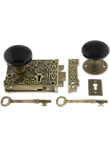 Antique Brass Ornate Rim Lock Set With Black Porcelain Door (Brass Ornate Door Knob)