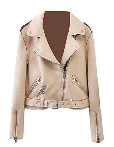 Short Outwear MogogoWomen Beige Jacket Lapel Velvet Fit Long Zip Sleeve Plus wwTP86qI
