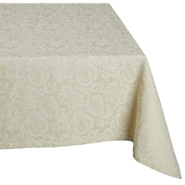Mahogany Leaf Baroque Tablecloth, 60-Inch by 120-Inch Rectangle, Ivory