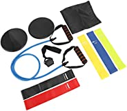 Sparkfire Resistance Bands Set - 5 Resistance Loop Bands, 1 Exercise Band with Door Anchor, 2 Exercise Dual Di