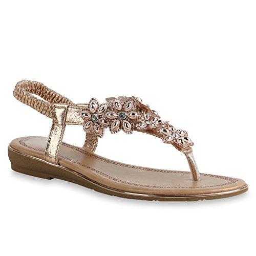 Schuh Lack Strass Autol Rose Gold Zehentrenner Damen Flandell Blumen Sandaletten Stiefelparadies Keilabsatz tAwRq0n
