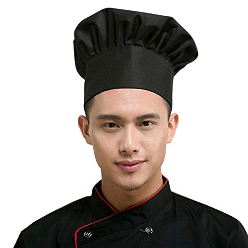 (Euone  Chef Cap, Chef Hat Adult Adjustable Elastic Baker Kitchen Cooking Chef Cap (Black))