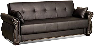 BOWERY HILL Faux Leather Convertible Sofa in Java