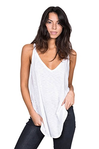 A+D Womens Casual Slub Knit V-neck Tank w/ Strap Shirt Top (White, Large)