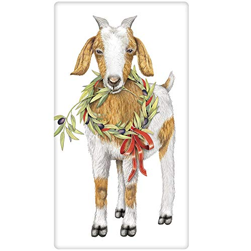 Mary Lake-Thompson Goat with Olive Wreath Cotton Flour Sack Dish Towel