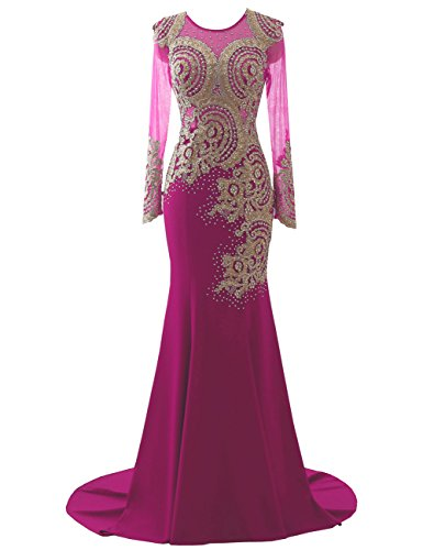 Ärmel Erosebridal Fuchsia Gold Abendkleider Ballkleid Applikationen Meerjungfrau Lange HwnUwxBZ
