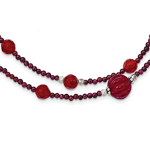 (925 Sterling Silver Red Avent./garnet/red Jade/red Quartz 2 Strand Inch Extension Chain Necklace Pendant Charm Natural Stone Multi Layer Fine Jewelry Gifts For Women For Her)