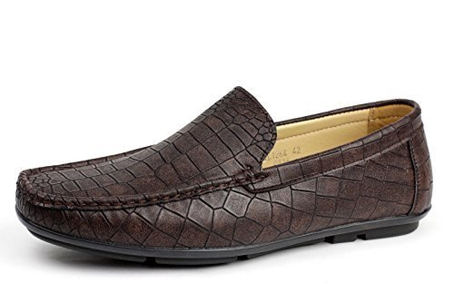 ALBERTINI Hombre Sin Cierres Cocodrilo Estampado Mocasines Zapatos de Conducción Casual Elegante Estilo Mocasín UKSize Marrón Oscuro