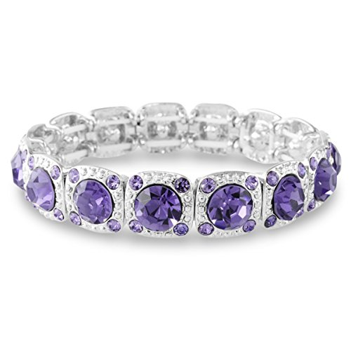 Silver Tone Faceted Lavender Purple Round Cut Crystal Cuff Stretch Bracelet