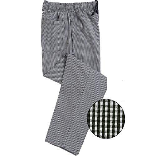 (Unisex Contemporary Black & White Check Baggy Chef Pants (L) )