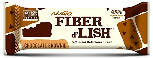 NuGo Fiber D'lish, Chocolate Brownie, 1.6 Ounce Bar,(Pack of 16)