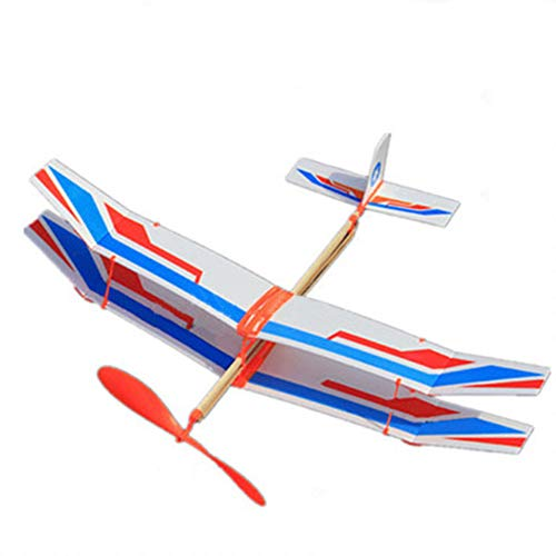 DishyKooker Assembly Glider Rubber Band Elastic Powered Flying Plane Biplane Educational Model Toy for Kids