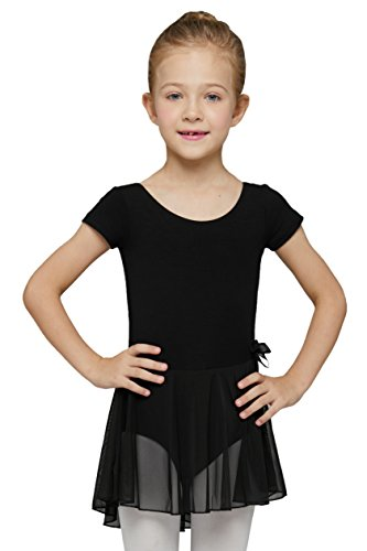 MdnMd Girls' Short Sleeve Skirted Leotard (2-4 / Toddler, Black)]()