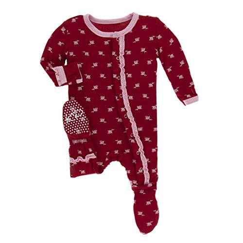 (Kickee Pants Little Girls Print Muffin Ruffle Footie with Snaps - Candy Apple Rose Bud, 18-24 Months)