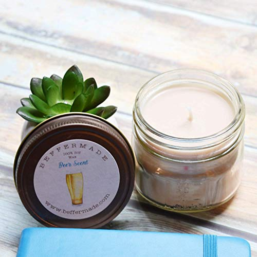 Beer Candle, Scented Soy Jar Candle, 4 oz