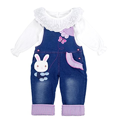 Chumhey Little Girls & Baby 2-Piece Cute Overalls Jeans Clothing Set,12-18 Months,Blue ()