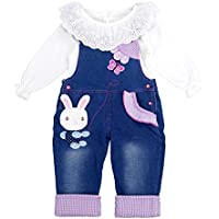 Chumhey Little Girls & Baby 2-Piece Cute Overalls Jeans Clothing Set