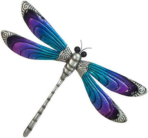 Dragonfly Wall Decor 3D Metal Design – Hand Painted in Bright Colors – Large Size 19 x 14 Nature Inspired Home Decoration – Indoor or Outdoor D cor – Wall Art Hanging
